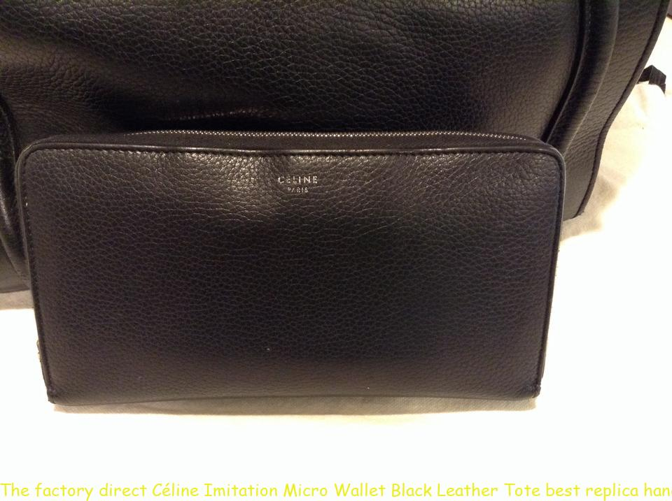 The factory direct Céline Imitation Micro Wallet Black Leather Tote best  replica handbags 2018 3e4cb54b89538