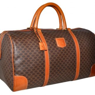 cd6f95b985a2 US Céline 7 Star Replica Macadam Paris Carry On Overnight Duffle Made In  Italy Unisex Brown Leather   Coated Canvas Weekend Travel Bag celine nano  bag
